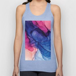 Pondering- Blue and Blush- Alcohol Ink Painting Unisex Tank Top