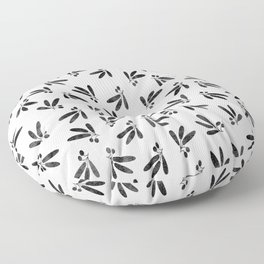 Olive Branches over White Floor Pillow