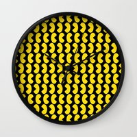 pac man Wall Clocks featuring Pac-Man by Jennifer Agu
