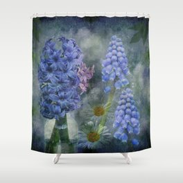 Painterly spring flowers on a grunge background Shower Curtain
