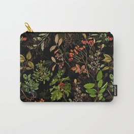 Vintage & Shabby Chic - vintage botanical wildflowers and berries on black Carry-All Pouch
