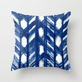 Indigo Geometric Shibori Pattern - Blue Chevrons on White Throw Pillow