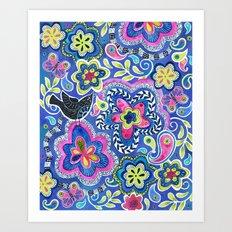 Indigo Garden Art Print