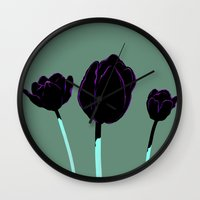 tulips Wall Clocks featuring Tulips by Ludovic Jacqz