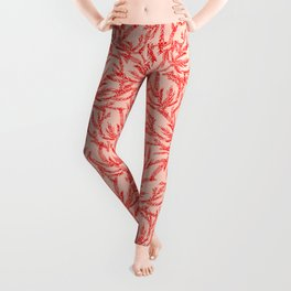 Red Coral Ferns Leggings