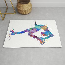 Ice Skating Girl Colorful Watercolor Art Sports Art Gift Rug