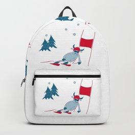 New year 2021 bull alpine skier. Giant slalom Backpack