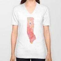 manhattan V-neck T-shirts featuring Manhattan  by Marta Olga Klara