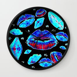 Kisses All Over (Blue) Wall Clock