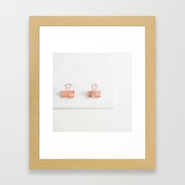 pink binder clips Framed Art Print