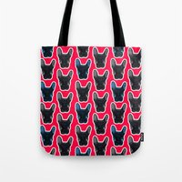 artrave Tote Bags featuring BATPIG artRAVE Red by Walko