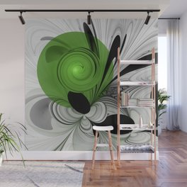 Abstract Black and White with Green Wall Mural