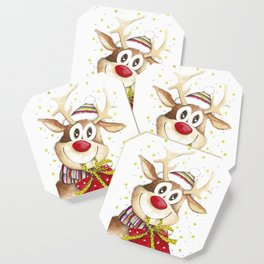 Funny Christmas Deer Red Nose Stars Coaster