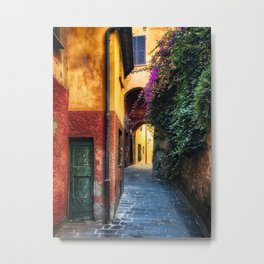 Narrow Street with Bougainvillea Flowers, Portofino, Liguria, Italy Metal Print