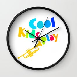 Cool Kids Play Trumpet Player Children Musician Music Instruments Design Wall Clock