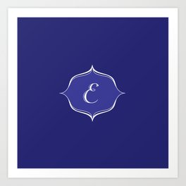 E Monogram Royal Blue Art Print