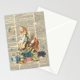 Vintage Alice In Wonderland on a Dictionary Page Stationery Cards