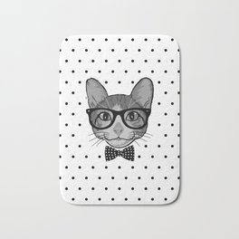 Cat Hipster With Bow Tie - Polka Dots Pattern Bath Mat
