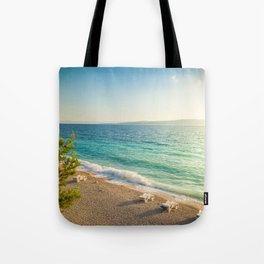 Beach in croatian coast, blue sea. Aerial view Tote Bag