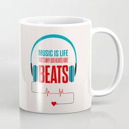 Lab No. 4 - Music Is Life.. That's Why Our Hearts Have Beats Motivational Quotes Poster Coffee Mug