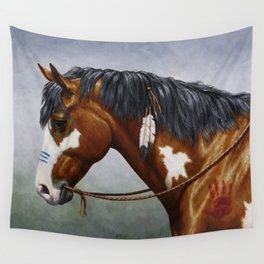 Bay Pinto Native American War Horse Wall Tapestry