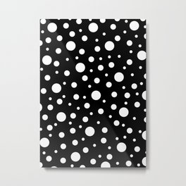 White on Black Polka Dot Pattern Metal Print