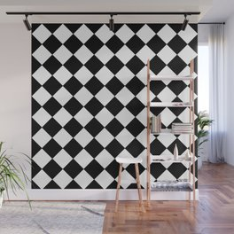 SMALL BLACK AND WHITE HARLEQUIN DIAMOND PATTERN Wall Mural