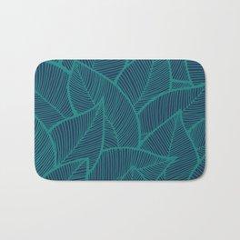 Blue Green Leaves Bath Mat