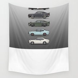 Stack of Mazda Savanna GT RX-3 Coupes Wall Tapestry