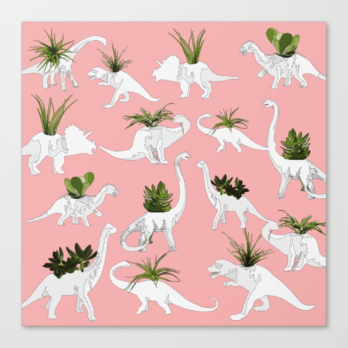 Dinosaurs & Succulents Leinwanddruck