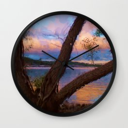 Ozark Sunrise Digital Watercolor Pastels Painting Wall Clock