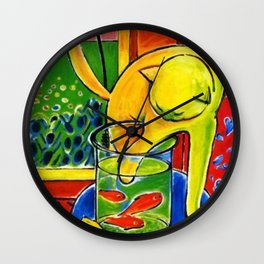 Henri Matisse - Le Chat Aux Poissons Rouges 1914, (The Cat With Red Fishes) Artwork Wall Clock