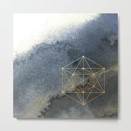 Sacred Geometry Indigo Blue & Gold Watercolor Metal Print