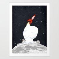 tintin Art Prints featuring Destination Moon by Calvin Wu