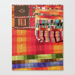 V27 Multi Colored Traditional Moroccan Lovely Textile Texture. Canvas Print