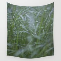 grass Wall Tapestries featuring Grass abstract by Maria Heyens