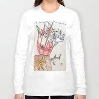 nursery Long Sleeve T-shirts featuring Shark Nursery by Ryan van Gogh