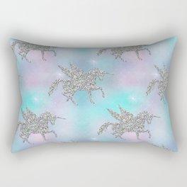 Silver Glitter Unicorns Rectangular Pillow