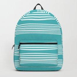wavy stripes in aqua Backpack