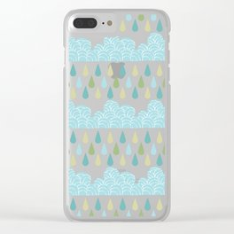 Modern teal green water drops geometrical shapes pattern Clear iPhone Case