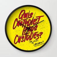 watchmen Wall Clocks featuring Watchmen by Chelsea Herrick