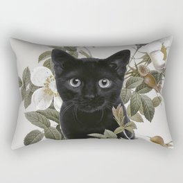 Cat With Flowers Rectangular Pillow
