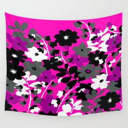SUNFLOWER TOILE PINK BLACK GRAY WHITE PATTERN Wall Tapestry