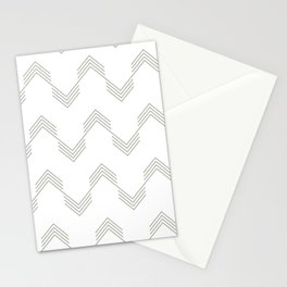 Simply Deconstructed Chevron Retro Gray on White Stationery Cards