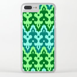 Moroccan Ikat Damask, Turquoise & Jade Green Clear iPhone Case