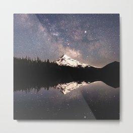 Milky Way Stars Mountain Metal Print