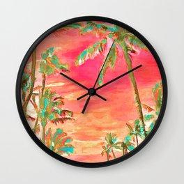 Vintage Hawaiian Beach, Mauna Lani Bay Wall Clock