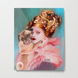 Lady with a Pug  Metal Print