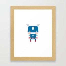 Pixel Captain America Framed Art Print