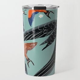 Swallows Martins and Swift pattern Turquoise Travel Mug